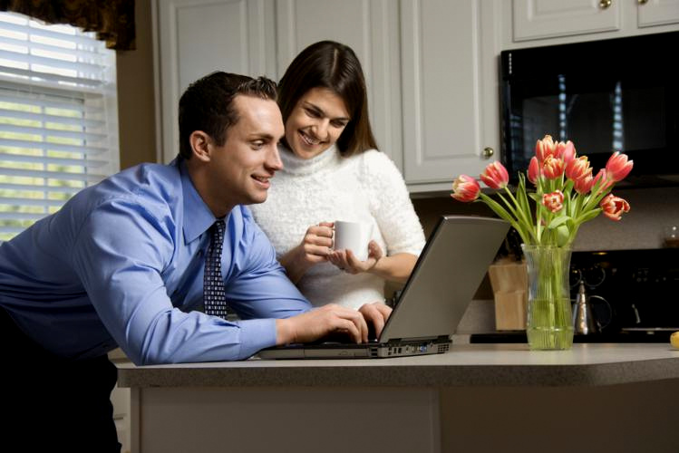 Couple with laptop.